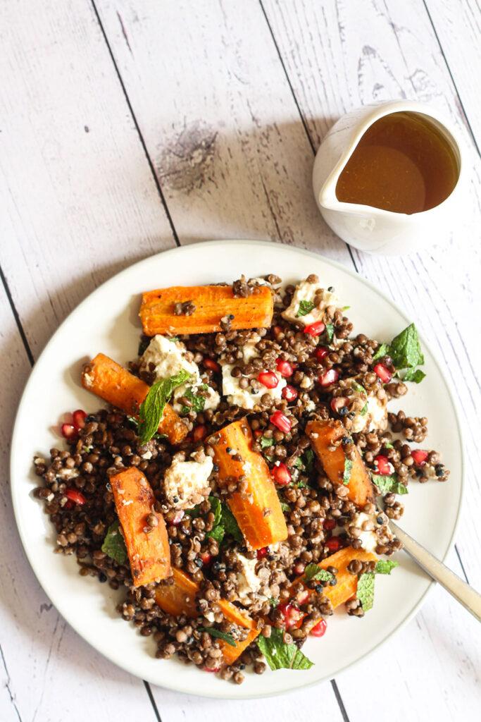 Feta & Roast Carrot Black Lentil Salad
