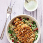dukkah crusted chicken with pomegranate tabouleh