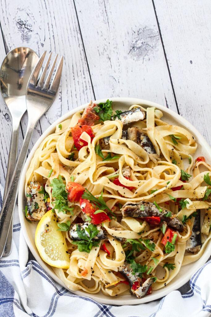 A serving of Spanish Sardines Pasta