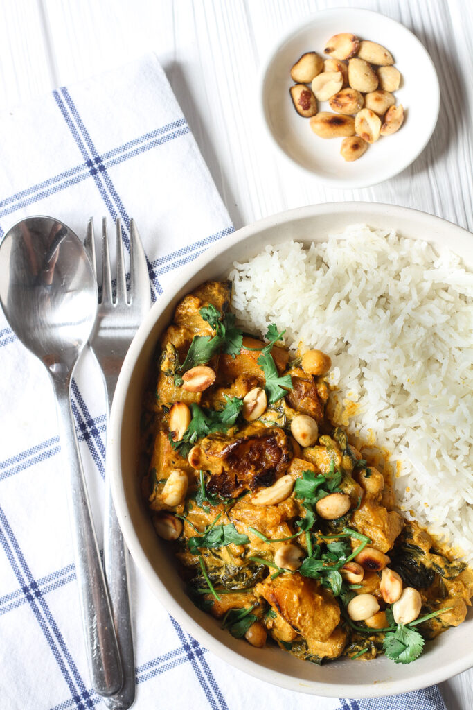 A serving of Roasted Butternut Squash & Chickpea Curry