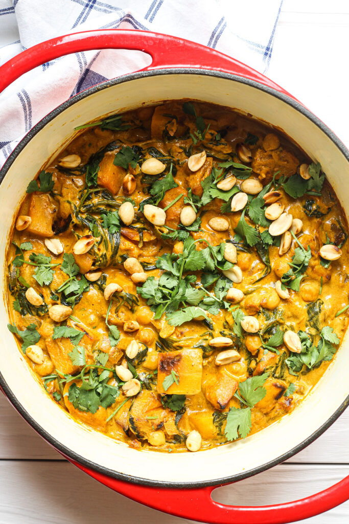Roasted Butternut Squash & Chickpea Curry ready to serve