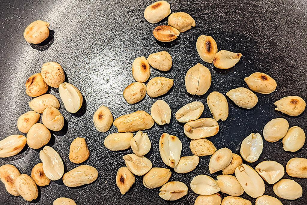 Toasting the peanuts